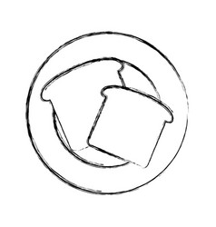 Plate with bread vector