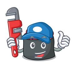 Plumber ikura mascot cartoon style vector