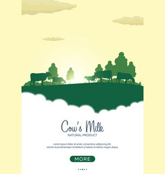Poster milk natural product rural landscape with vector