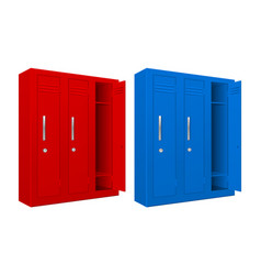 Red and blue school lockers vector
