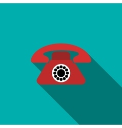 Red retro telephone icon flat style vector image