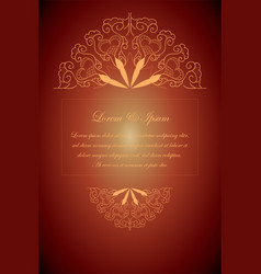 Red wedding card with mandala style vector