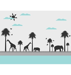 Reserve landscape with animals vector