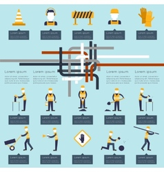 Road worker infographic vector