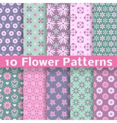 Romantic flower different seamless patterns tiling vector