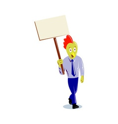 Rooster chicken office worker protesting placard vector