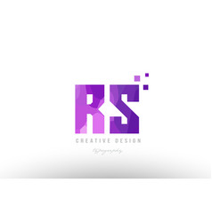 Rs r s pink alphabet letter logo combination with vector