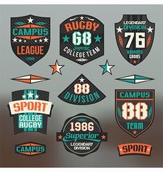 Rugby emblem college team vector