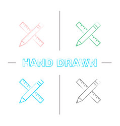 ruler and pencil hand drawn icons set vector image