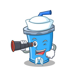 Sailor with binocular soda drink character cartoon vector