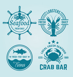 seafood restaurant emblems or badges vector image