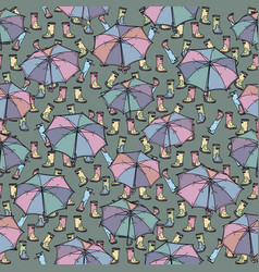 Seamless pattern with rubber boots and umbrella vector