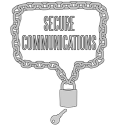 Secure Communications chain lock frame vector