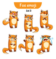 set of cute fox characters set 3 vector image