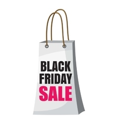 Shopping bag black friday sale icon cartoon style vector image