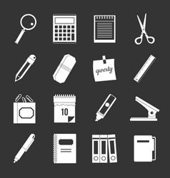 Stationery symbols icons set grey vector