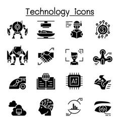 Technology icon set graphic design vector