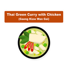 Thai green curry with chicken top view art vector