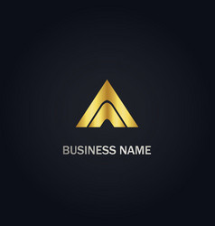 triangle pyramid gold logo vector image