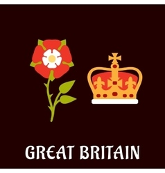 Tudor rose and crown of Great Britain vector image