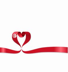 tunisian flag heart-shaped ribbon vector image