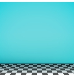 Turquoise empty scene with checkerboard floor vector image