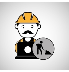 Under construction laptop worker vector