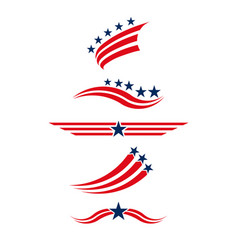 usa icon set in red and blue stars and stripes vector image