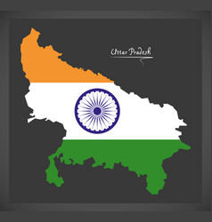 Uttar pradesh map with indian national flag vector