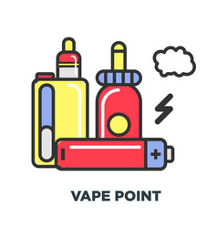 Vape and liquid substance with flavor to refill vector