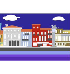 Venice city colorful flat style vector
