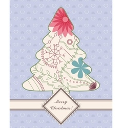 Vintage background with christmas tree vector image