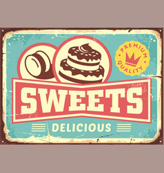 Vintage sign post cakes and sweets vector