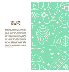 virtual reality concept banner in thin line style vector image