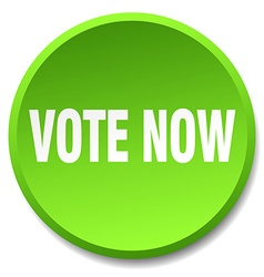 Vote now green round flat isolated push button vector