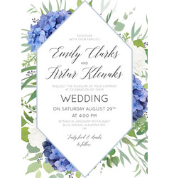 Wedding floral invite save the date card design vector