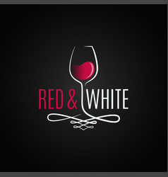Wine glass logo red and white wine vintage design vector