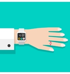 Woman hand with smart watch vector