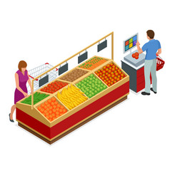 Women and man shopping vegetables and fruits vector