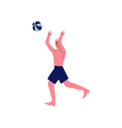 young man playing beach volleyball guy relaxing vector image