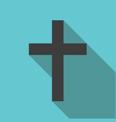 christian cross long shadow vector image vector image