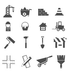 construction icons set vector image