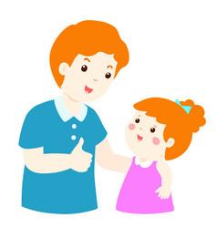dad admire daughter character cartoon xa vector image vector image