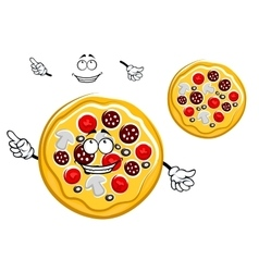 Fast food pepperoni pizza cartoon character vector image