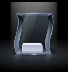 glass showcase in wave form for presentation on vector image vector image