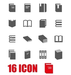 grey book icon set vector image