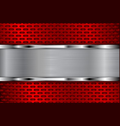 red metal perforated background with shiny chrome vector image vector image