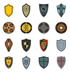 Shields icons set flat style vector image