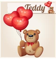 Teddy bear with heart balloons vector image