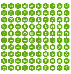 100 toys for kids icons hexagon green vector image